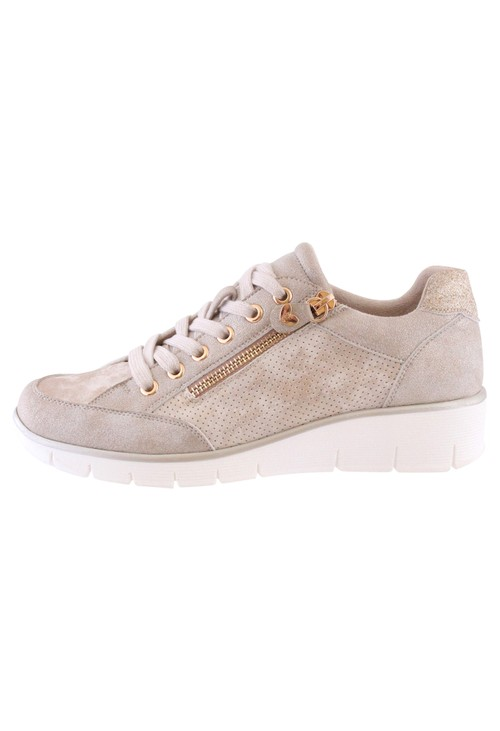 Susst Soft Pink Laced Trainer with Zip Detail