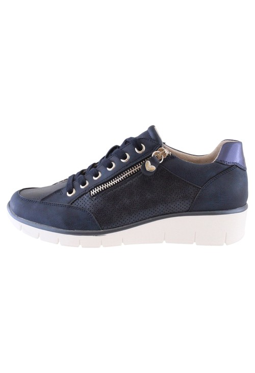 Susst Navy Laced Trainer with Zip Detail
