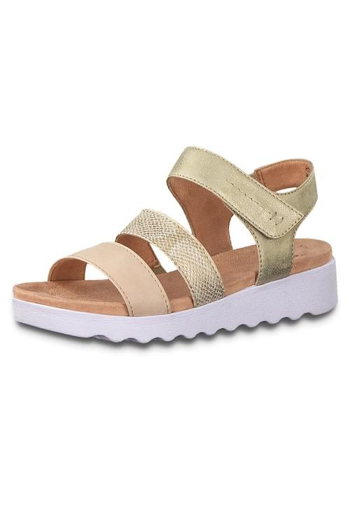 Jana Gold Twin Strap Sandal
