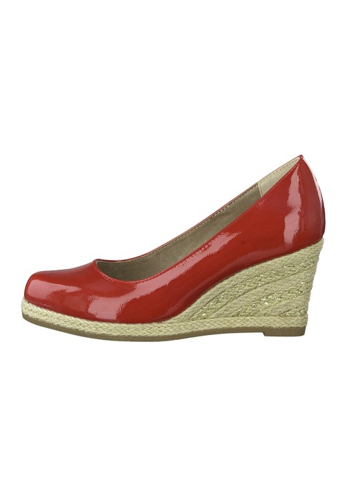 Marco Tozzi Red Patent Espadrille Wedge