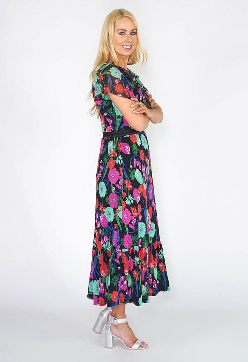 Zapara Black Floral Maxi Dress