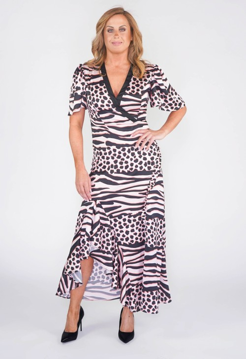 Pamela Scott LIQUORISH MAXI DRESS IN A PINK AND BLACK ANIMAL PRINT.