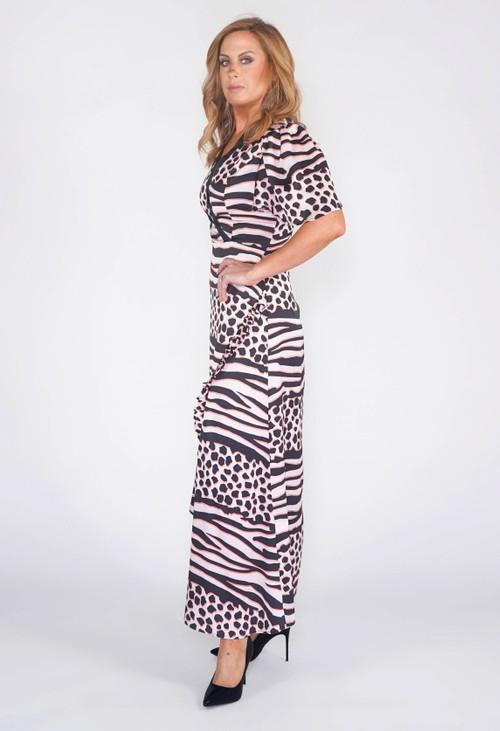 Pamela Scott LIQUORISH MAXI DRESS IN A PINK AND BLACK ANIMAL PRINT.