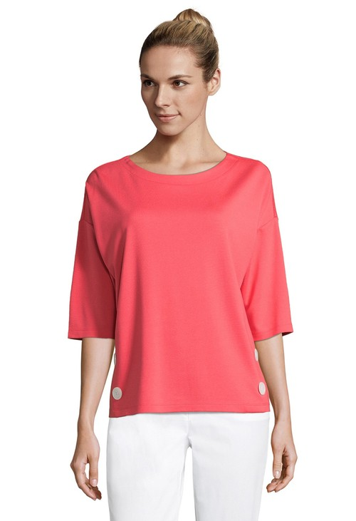 Betty Barclay Buttoned Coral Sweatshirt