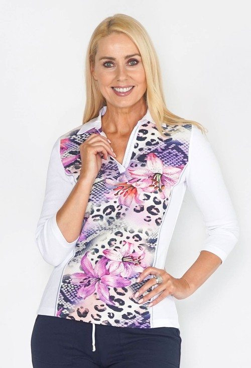 Pamela Femme LEOPARD FLOWER MIX JERSEY POLO ¾ SLEEVE TOP