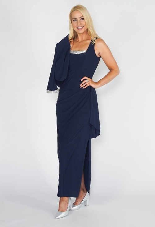 R and M Richard s Navy Two Piece Evening Dress