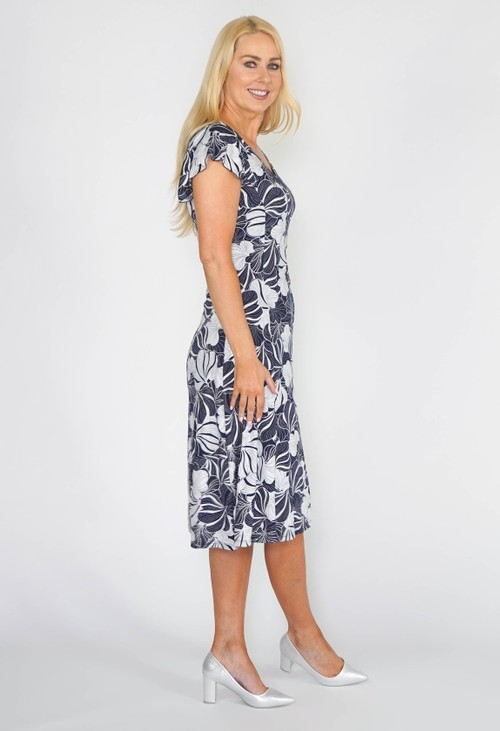 Sophie B Silver Navy Floral Dress