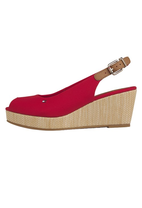 Tommy Hilfiger Red Peep Toe Sling Back low Wedge