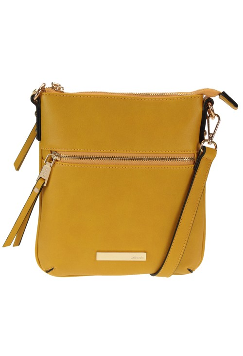 Hampton MUSTARD CROSSBODY BAG WITH ZIP DETAIL FRONT