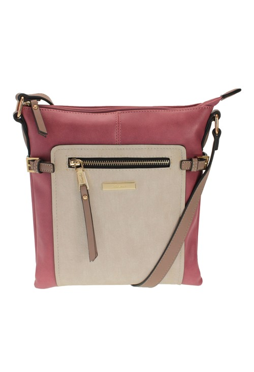 Hampton PINK COLOURBLOCK CROSSBODY BAG WITH ZIP DETAIL FRONT