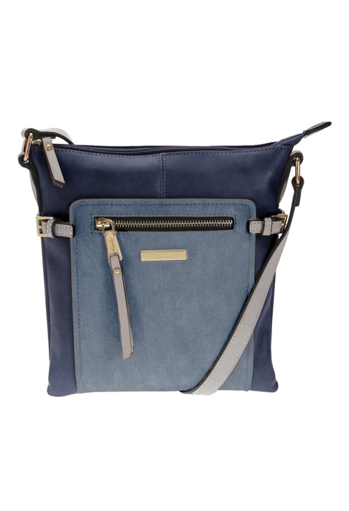 Hampton BLUE COLOURBLOCK CROSSBODY BAG WITH ZIP DETAIL FRONT