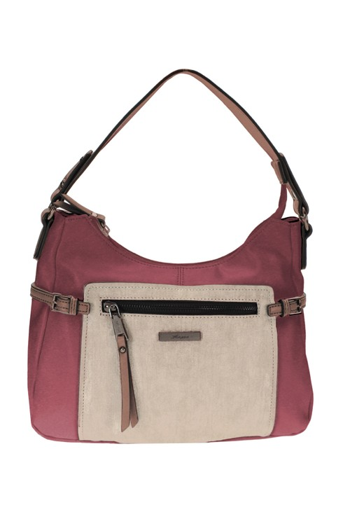 Hampton CURVED TOP STYLE COLOURBLOCK HANDBAG IN PINK