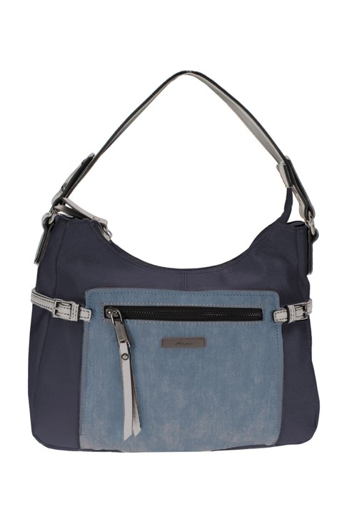 Hampton CURVED TOP STYLE COLOURBLOCK HANDBAG IN BLUE