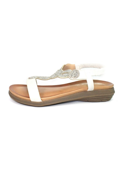 Lunar White T Strap Sandal with Diamante Detail