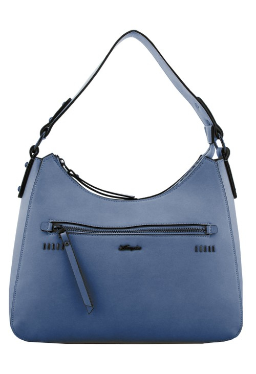 Hampton Curved Top Style Handbag with Studded and Zip Detail Front in Blue