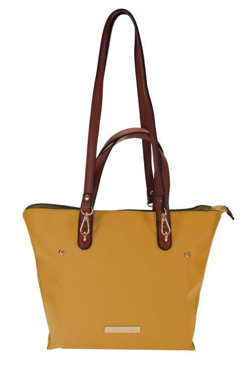 Hampton Medium Tote Bag with Dual Handle Option in Mustard