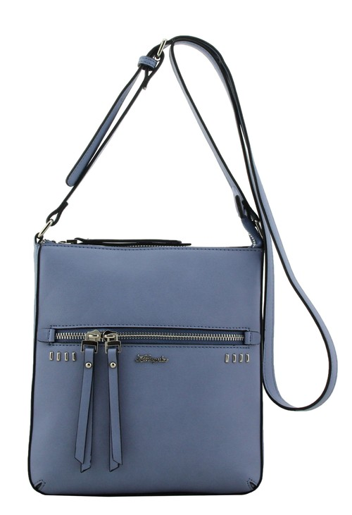 Hampton Blue Crossbody Bag with Studded and Zip Detail Front