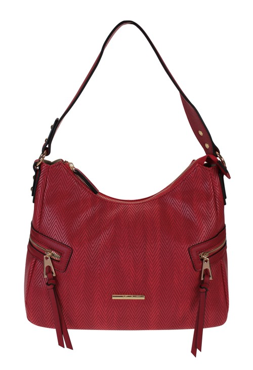 Hampton Curved Top Style Textured Handbag with Side Zip Details in Red