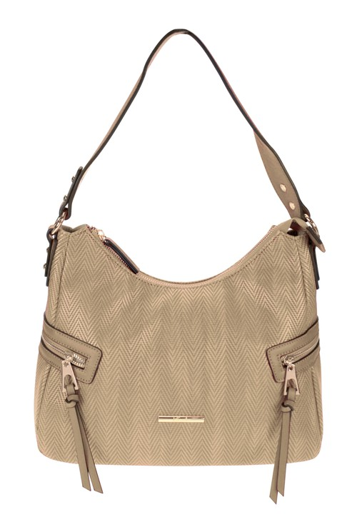 Hampton Curved Top Style Textured Handbag with Side Zip Details in Natural