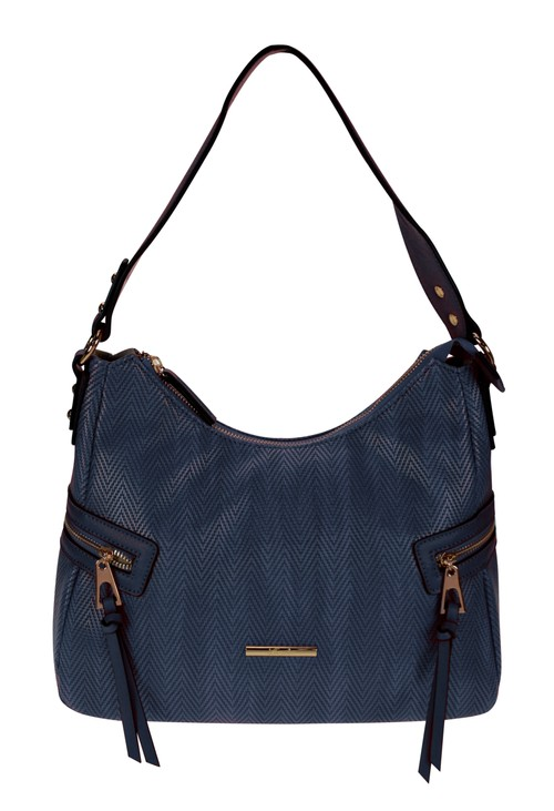 Hampton Curved Top Style Textured Handbag with Side Zip Details in Navy