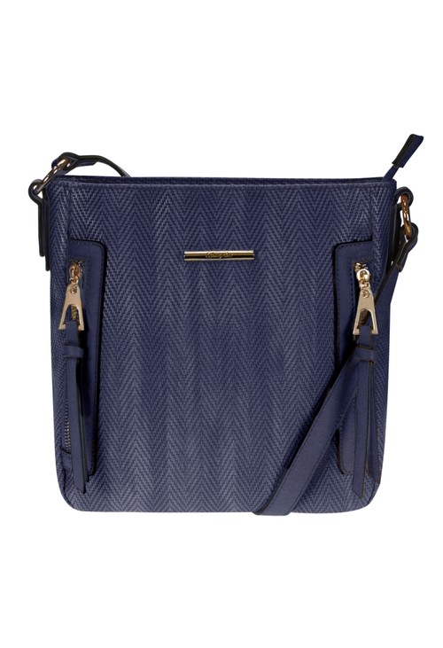 Hampton Navy Textured Crossbody Bag with Side Zips