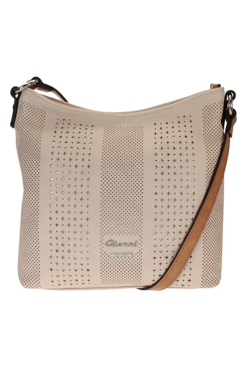 Gionni Laser Cut Curved Crossbody Bag in Natural with Contrasting Strap