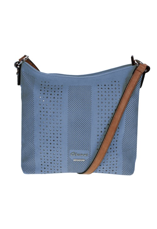 Gionni Laser Cut Curved Crossbody Bag in Blue with Contrasting Strap
