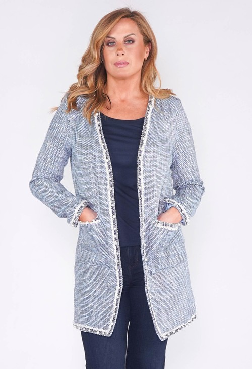 Pamela Scott BOUCLE COAT WITH PEARL DETAIL