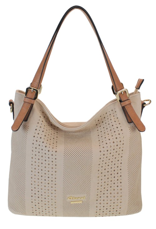 Gionni Laser Cut Curved Handbag in Natural with Contrasting Strap