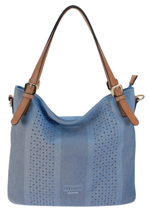 Gionni Laser Cut Curved Handbag in Blue with Contrasting Strap
