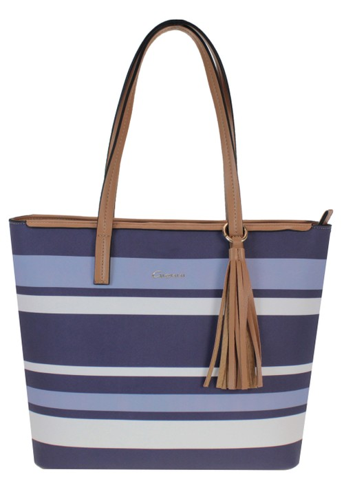 Gionni Stripe Tote Bag with Contrasting Handle in Navy and Blue