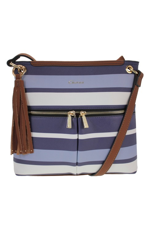 Gionni Stripe Crossbody Bag in Navy and Blue Stripe