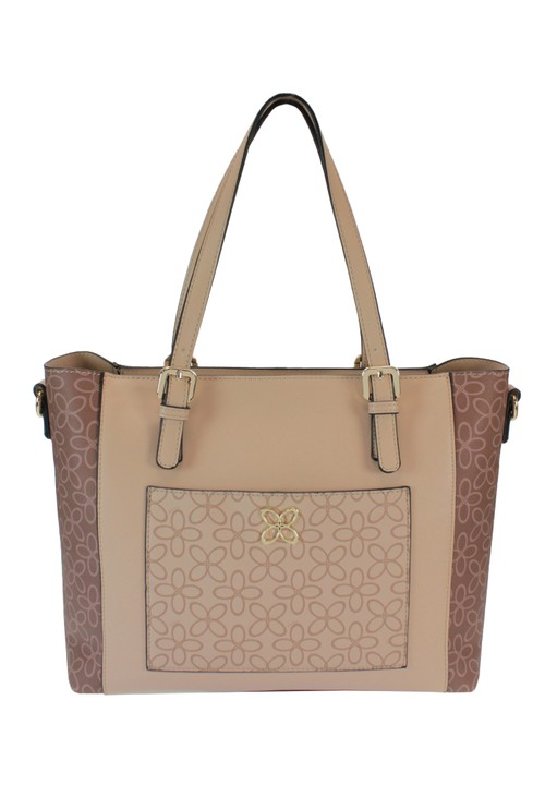 Gionni Contrast Print Tote Bag in Camel And Tan