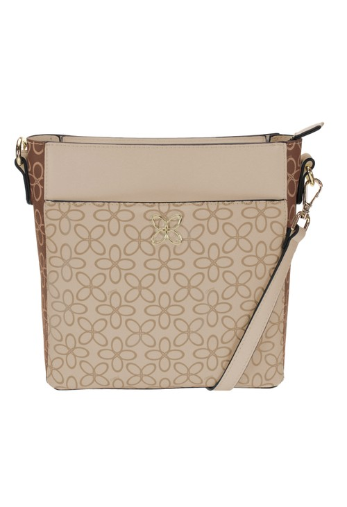 Gionni Contrast Print Crossbody Bag in Camel and Tan
