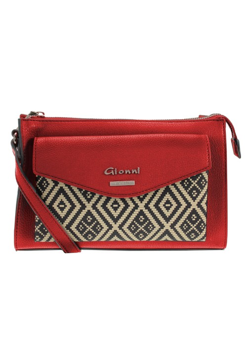 Gionni Front Pocket Crossbody Bag with Aztec Print in Red