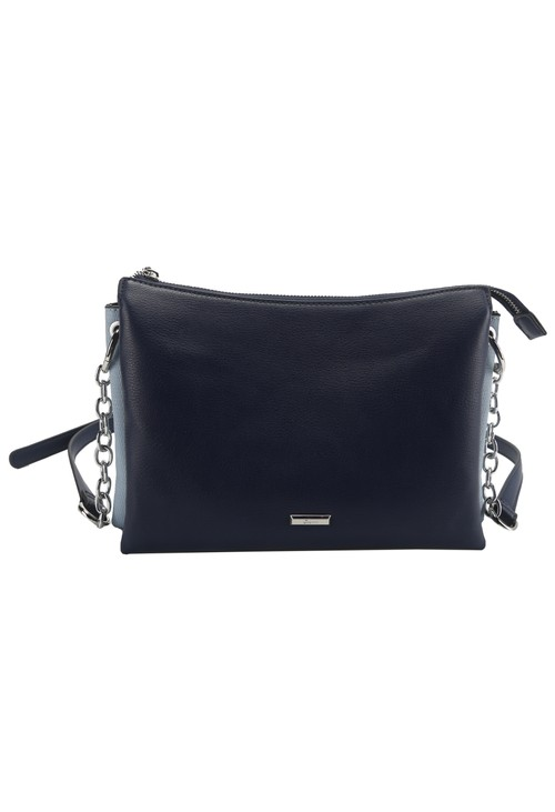 Gionni Curved Top Crossbody Bag with Triple Compartment in Navy and Blue