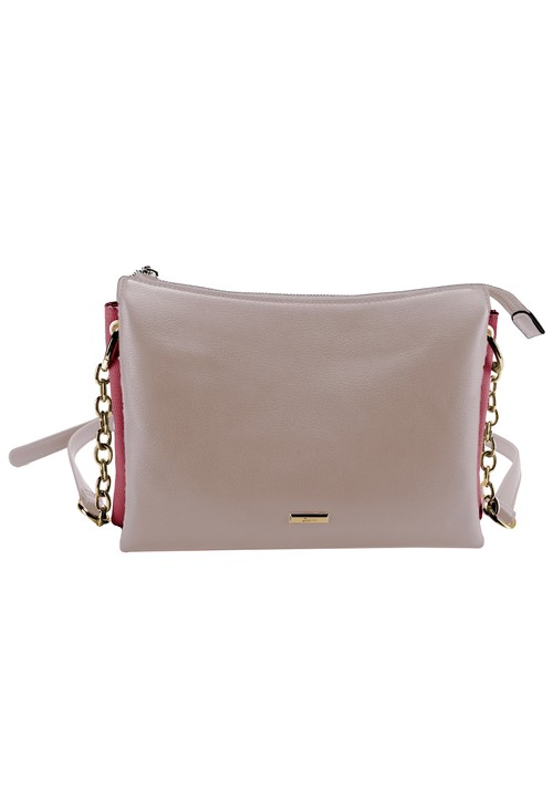 Gionni Curved Top Crossbody Bag with Triple Compartment in Pink and Fuchsia