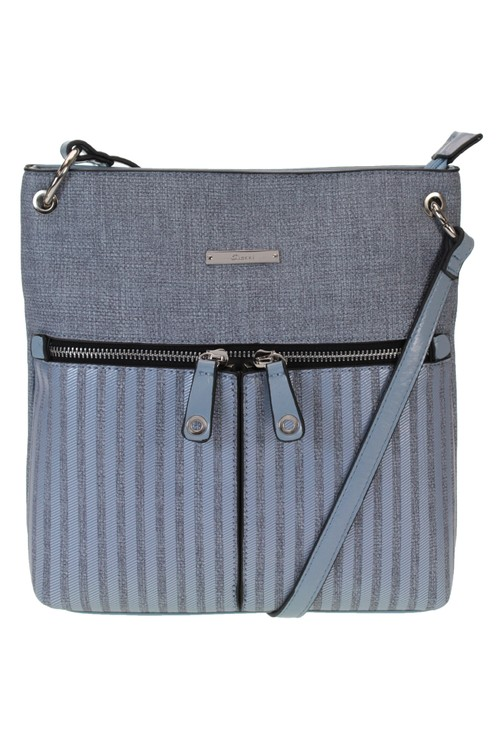 Gionni Textured Crossbody Bag with Textured Front and Double Zip Front Detail in Blue