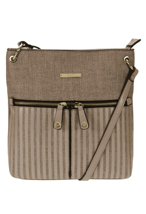 Gionni Textured Crossbody Bag with Textured Front and Double Zip Front Detail in Camel