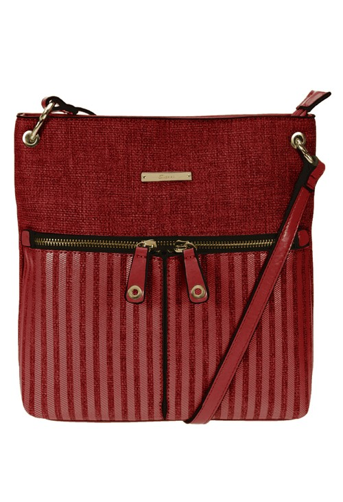 Gionni Textured Crossbody Bag with Textured Front and Double Zip Front Detail in Red