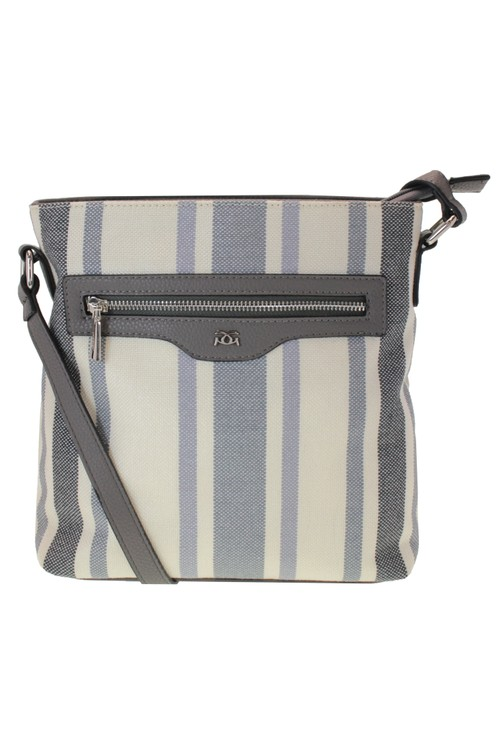 Gionni Woven Stripe Crossbody Bag with Zip Detail Front in Blue and Cream