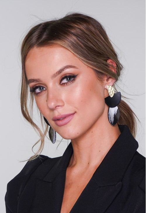 Pamela Scott Black and Gold Earrings