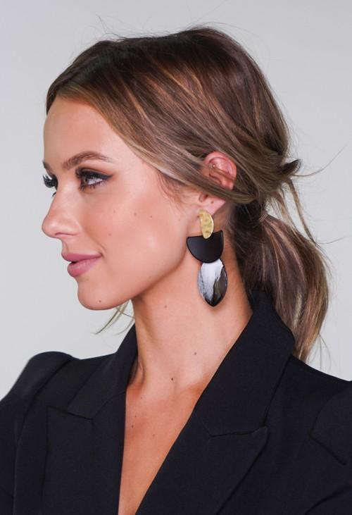 Pamela Scott Black and Gold Earrings