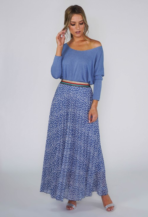 Pamela Scott Blue Polka Dot PLEATED SKIRT