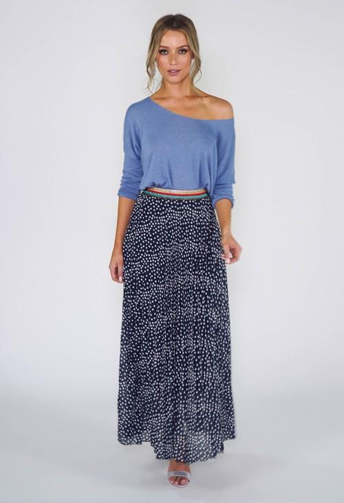 Pamela Scott Navy Polka Dot Pleated Skirt
