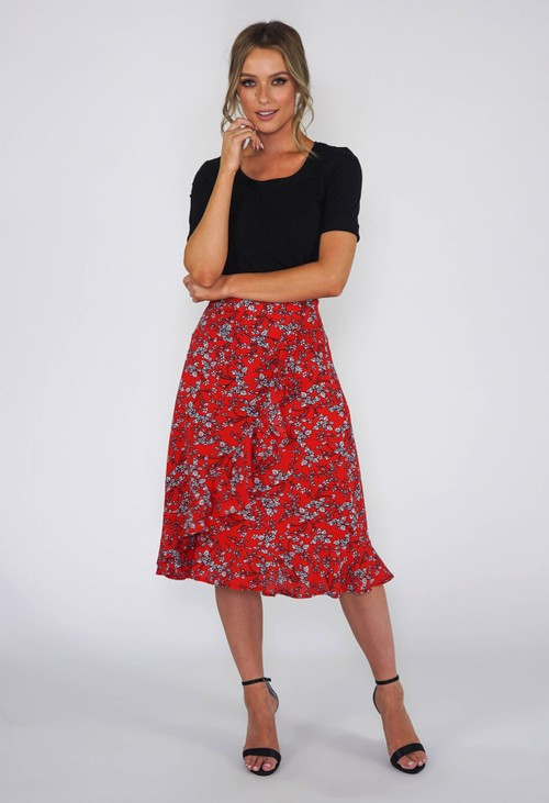 Pamela Scott Red Floral Ruffle Skirt