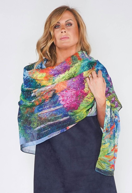 Pamela Scott Blue and Green Abstract Print Scarf