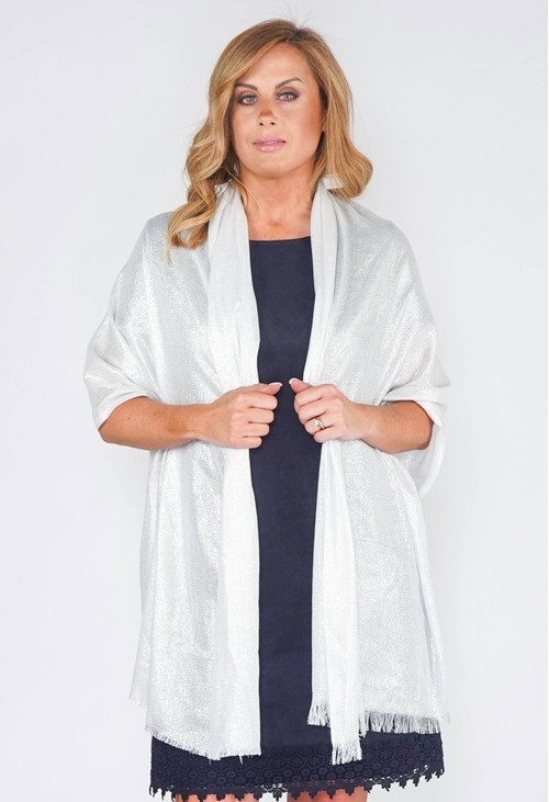 PS Accessories Shimmer Pashmina in Silver Grey