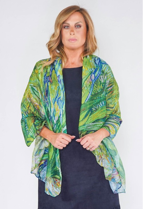 Pamela Scott Abstract Print Scarf in Green