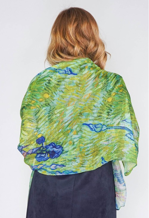 Pamela Scott Abstract Print Scarf in Green